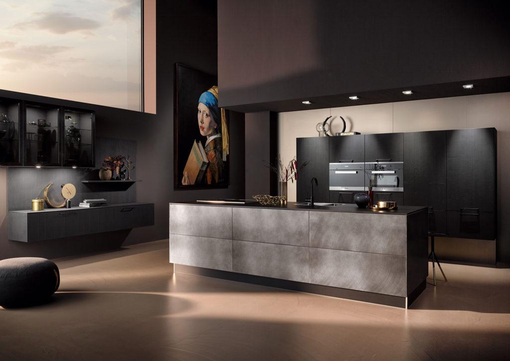 Кухня с фасадами из шпона вулканического дуба AV 6084|AV 7070-GL