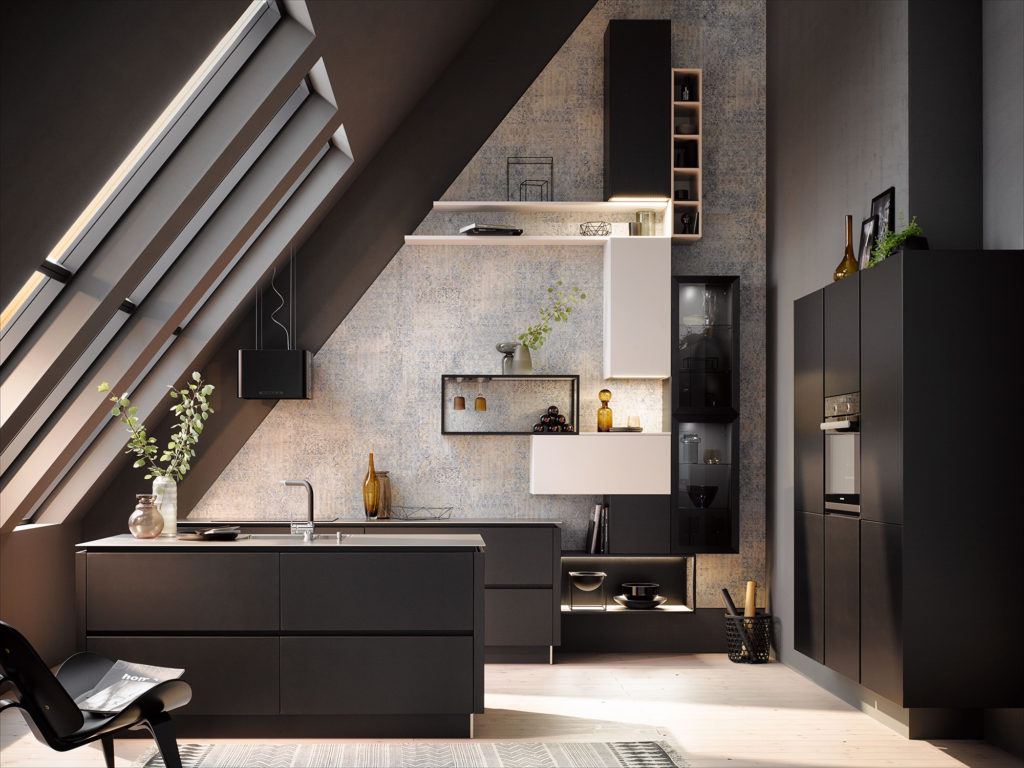 Кухня в мансарде AV 2035-GL Black