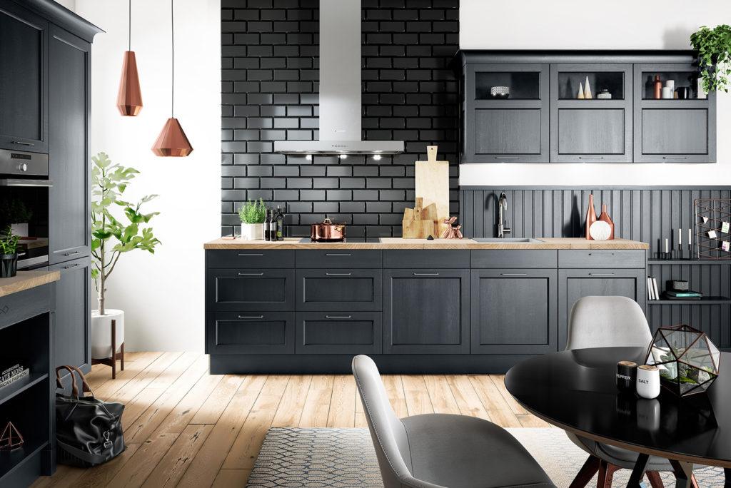 Благородная кухня в черном цвете